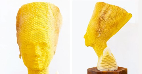 Artist Collaborates With 60,000 Bees to Recreate Nefertiti's Bust Out of Beeswax and Honeycomb