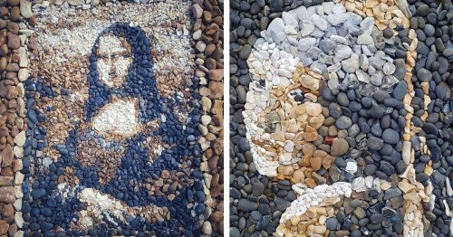 Artist Recreates Famous Works of Art on the Beach Using Colorful Pebbles