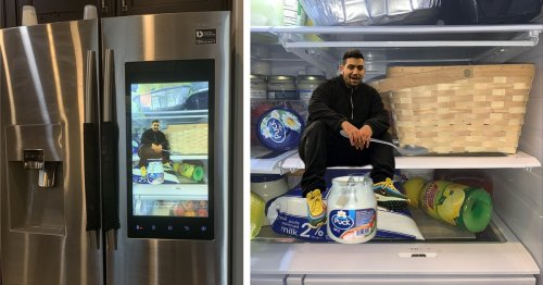 Funny Guy Photoshops Himself Onto His Fridge's Screen To Make It Look Like He's Stuck Inside
