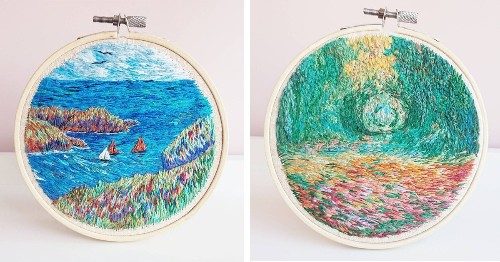 Beautifully Colorful Embroidery Designs Based on Impressionist Paintings