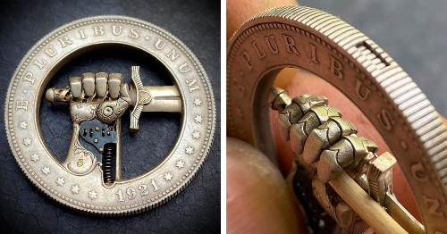 Artist Turns Dollar Coin Into Incredible Sculpture With Hidden Movable Mechanics