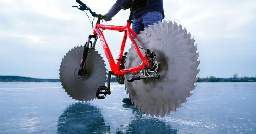 Cyclist Replaces Tires With Sawmill Blades So He Can Ride on a Frozen Lake