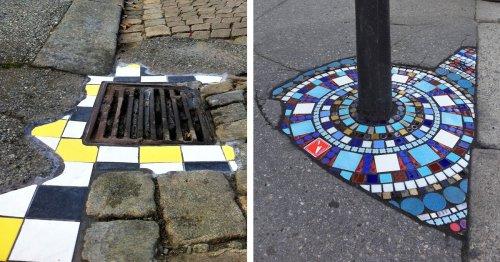 Street Artist Transforms Cracks in Pavement To Turn Eyesores Into Gorgeous Mosaics