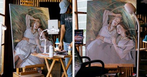 Idyllic Pastel Drawing of Two Sleeping Women Looks Like a Victorian-Era Painting