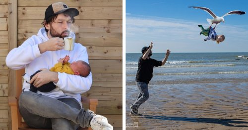 """Funny Dad Photoshops His Kids Into """"Dangerous"""" Situations to Show His Girlfriend They're OK"""