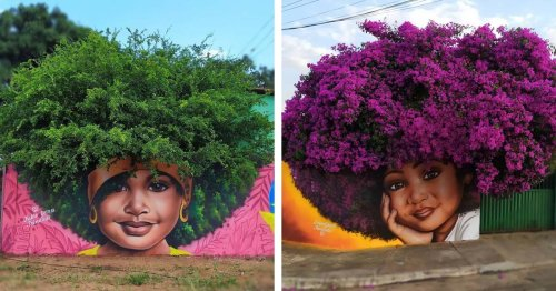 """Street Artist Uses Flowering Trees as """"Natural Hair"""" To Complete Portraits of Women and Girls"""
