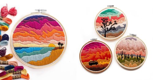 Embroidery Artist Stitches the Sunset To Showcase the Beautiful Colors in the Sky