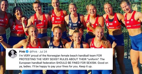 """Pink Offers To Pay Fines for Norway's Women Handball Team Over """"Sexist"""" Uniform Rules"""