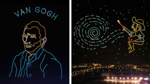 "600 Drones ""Paint"" Vincent van Gogh's 'Starry Night' in Dazzling Night Sky Display"