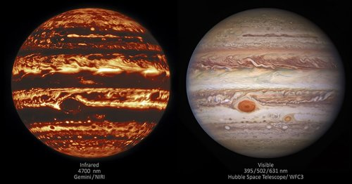 Hubble and Gemini Release New UV and Infrared Photos of Jupiter