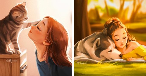 Artist Illustrates How Animals Make Even the Simplest Moments Seem So Much Better