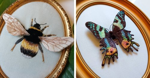 Embroidered Insects With 3D Wings Look Like They Could Fly Right Off the Fabric