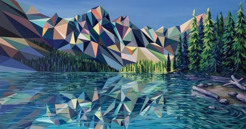 Artist Reimagines Majestic Mountainscapes as Jewel-Toned Polygon Paintings