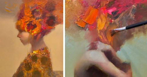 Expressive Oil Paintings Highlight Inner Thoughts and Emotions Through Flurries of Brushstrokes