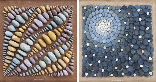 Artist Uses Sand and Stones to Create Land Art Masterpieces at His Local Beach
