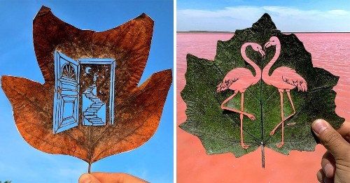 Artist Completes Intricate Leaf Cut-Outs by Holding Them To the Sky