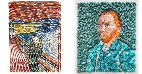 Artist Recreates Famous Paintings From Paper Clips and Other Everyday Objects