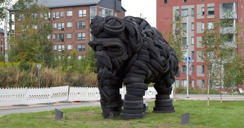 Giant Elephant Sculpture Made Entirely of Recycled Tires and Steel