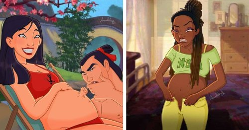 Artist Reimagines Disney Princesses as Pregnant Women Going Through the Highs and Lows of Maternity