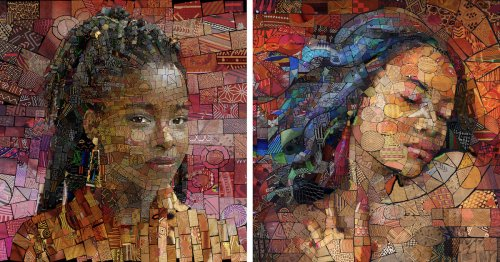 Artist Creates Stunning Mosaic Portraits Inspired by Colorful Patterns From African Culture