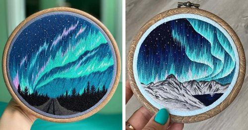 Brilliant Embroideries Capture the Expansive Beauty of the Aurora Borealis in Small Hoops