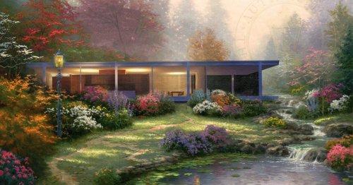Iconic Modernist Buildings Reimagined Inside Idyllic Thomas Kinkade Paintings