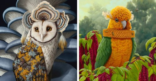 Surreal Oil Paintings Reimagines Animals Merged With Plant Life