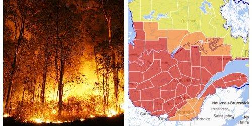 Incendies au Québec : La quasi-totalité de la province est au niveau d'alerte extrême