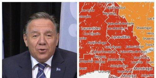 La majorité des régions en rouge au Québec vont passer en zone orange d'ici la fin du mois