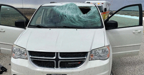 A Driver In Manitoba Got Fully Knocked Out When An Ice Chunk Smashed His Windshield