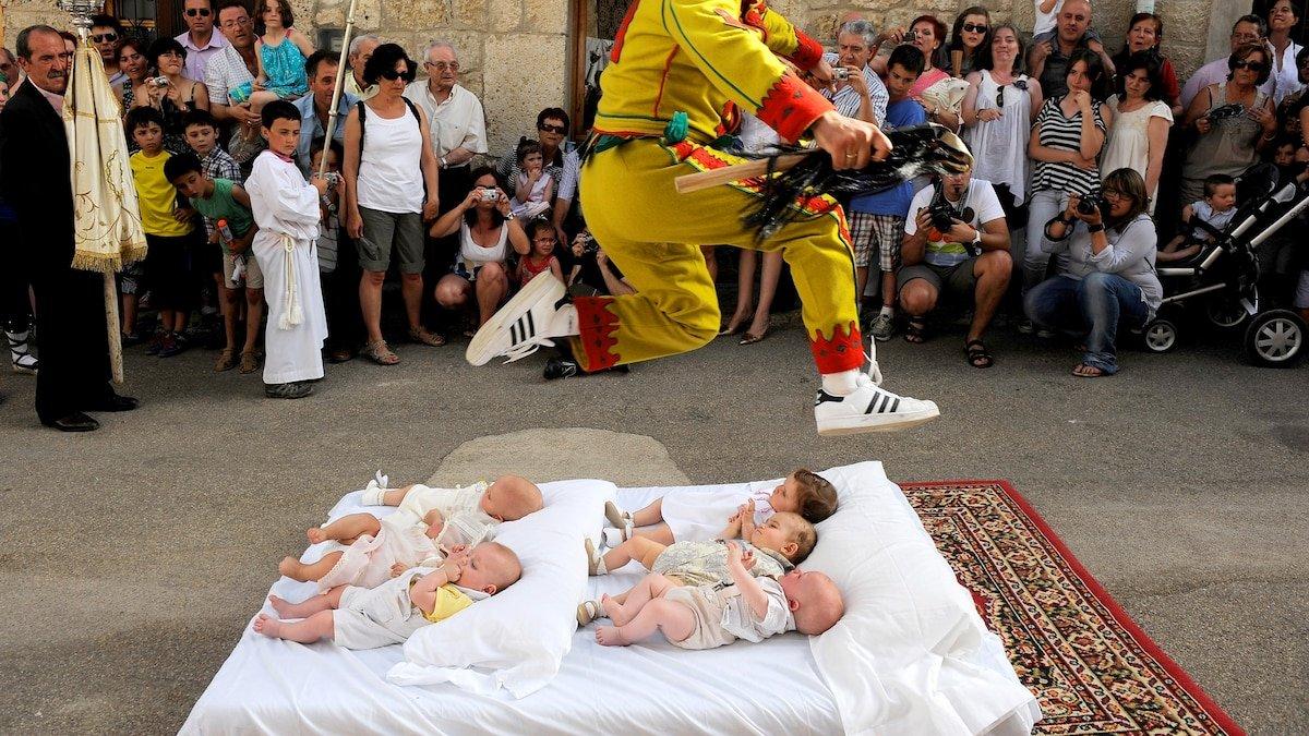 Look inside Spain's unusual baby jumping festival