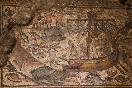 Man-eating fish, Tower of Babel revealed on ancient mosaic