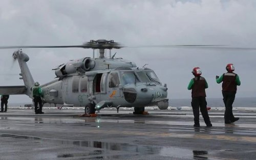 Navy Doing Deep Sea-Search for Sailors' Remains, Helicopter