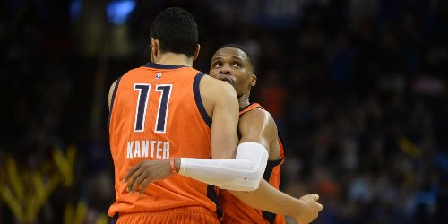 Enes Kanter congratulates Russell Westbrook for capturing triple-double crown
