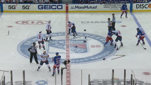 New York Rangers, Washington Capitals brawl at puck drop due to Tom