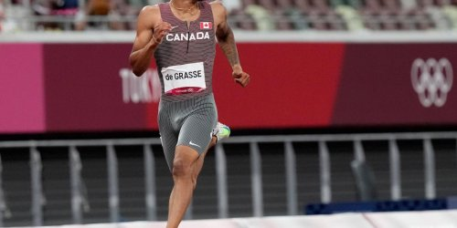 Canada's Andre de Grasse edges out the three Americans
