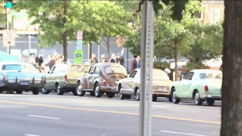HBO Show on Watergate Filming in DC; Cars From '70s Parked Downtown