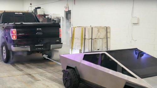 Watch Tiny Tesla CYBERTRUCK Duke It out with Ford F-150 - Nerdist