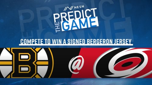 Play 'Predict The Game' During Bruins-Hurricanes To Win Signed Patrice Bergeron Jersey