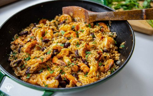 Caribbean Rice and Beans with Shrimp Recipe - Fit Men Cook