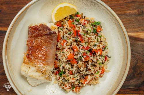 Prosciutto Wrapped Halibut with Roasted Pepper Wild Rice -
