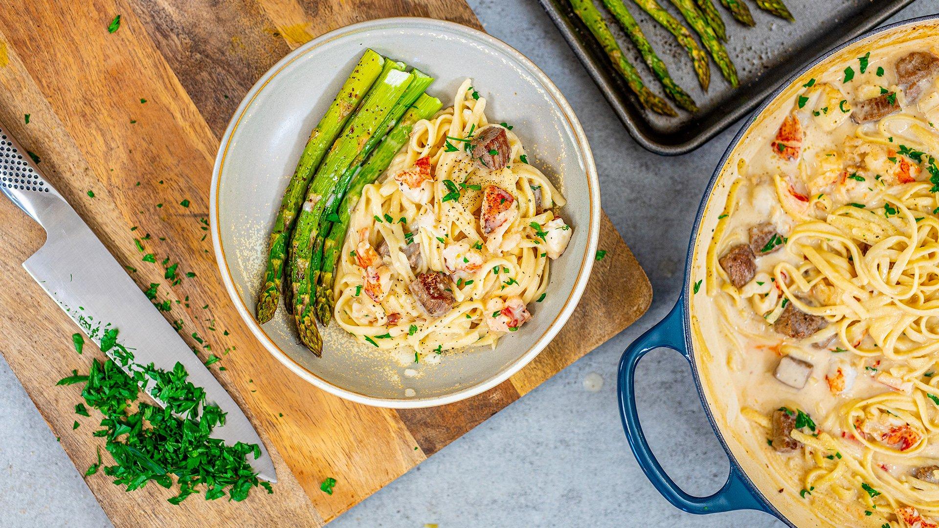 Surf and Turf Dinner for Two - Lighter Lobster Steak Pasta - Fit Men Cook