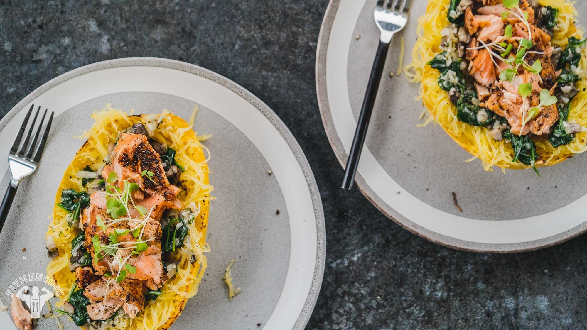Creamy Salmon Pasta With Spicy Spaghetti Squash - Fit Men Cook