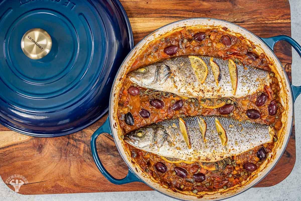 Whole Roasted Branzino in Eggplant & Tomato - Fit Men Cook