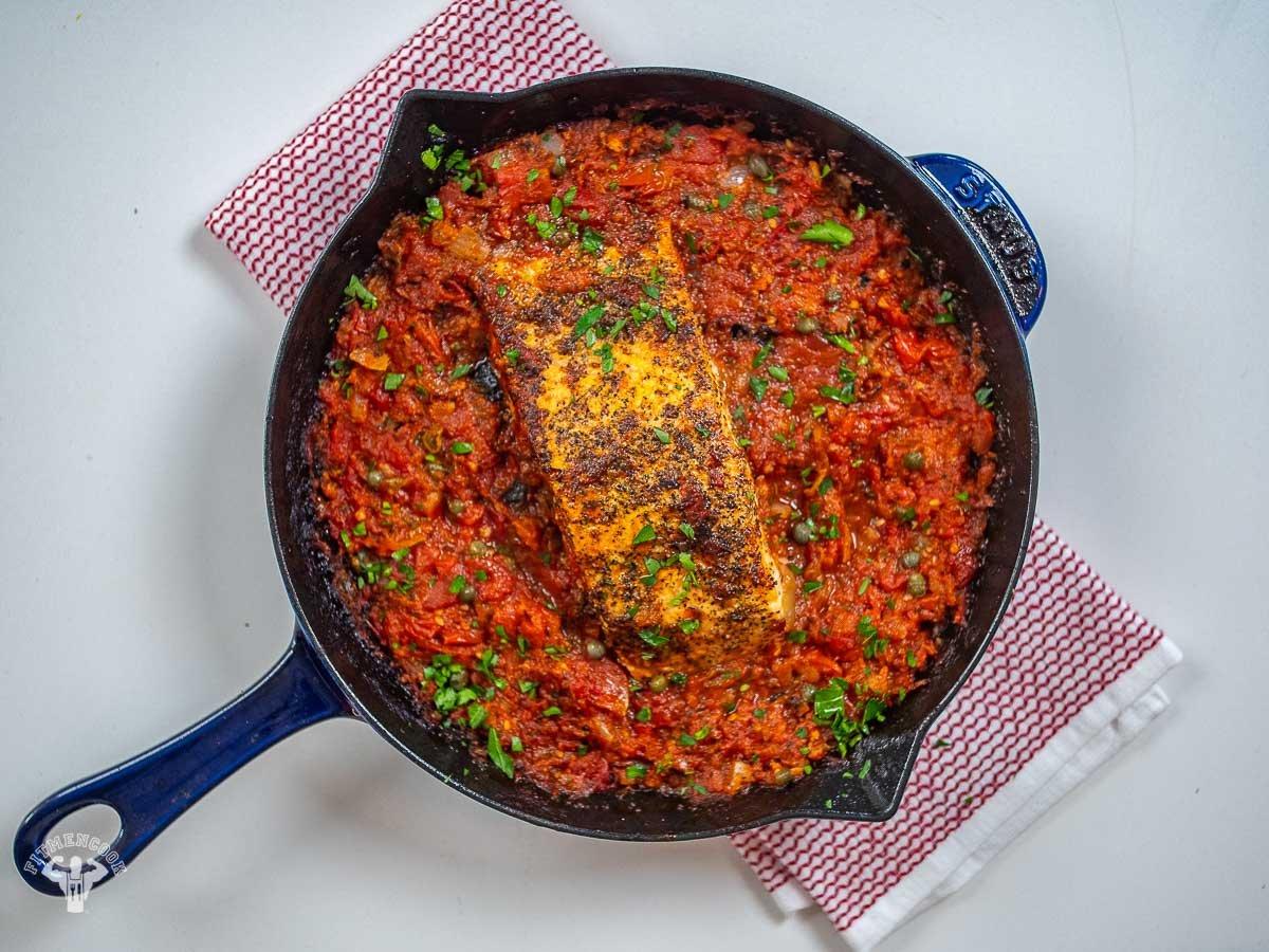 Mediterranean Salmon in Tomato Sauce - Fit Men Cook