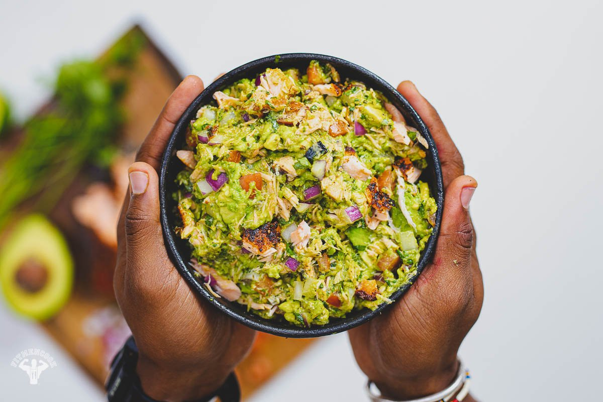 Guacamole with Spicy Grilled Salmon -