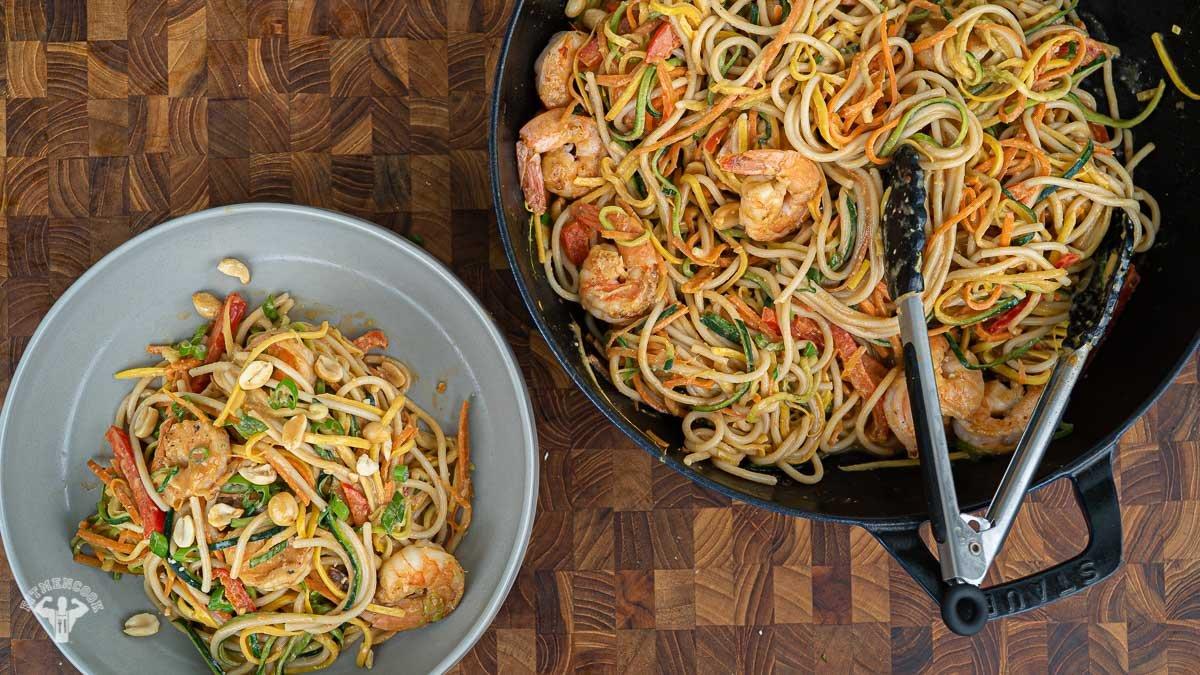 Quarantine Cooking: Peanut Veggie Pasta with Shrimp -