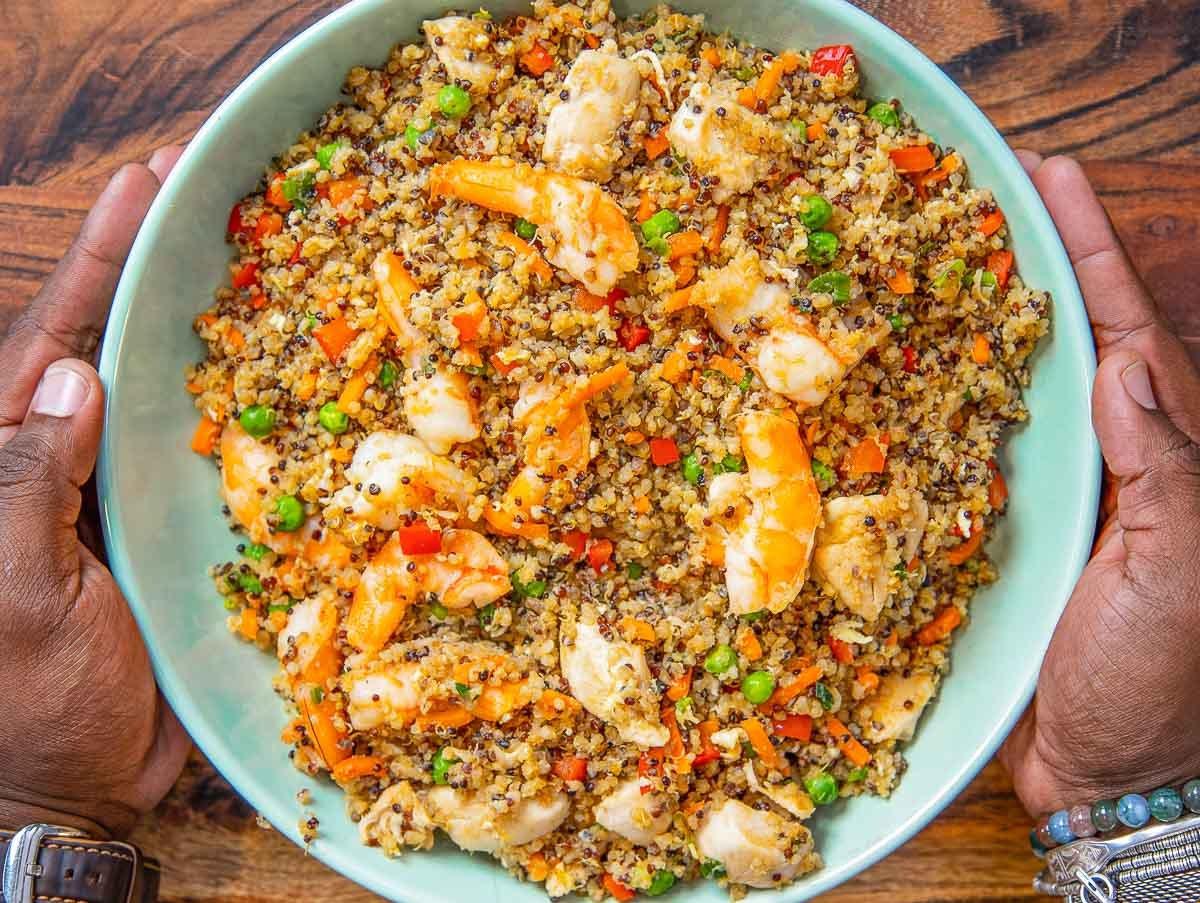 Quick Chicken & Shrimp Fried Quinoa Recipe - Fit Men Cook