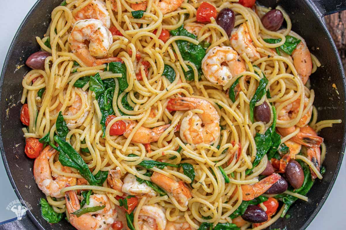 One Pot Shrimp & Lemon Pasta - Mediterranean Diet -