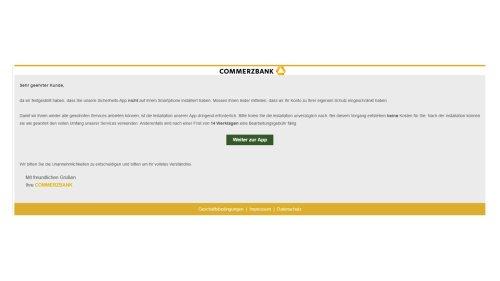 """Commerzbank: """"Installation der Sicherheits-App erforderlich"""" - Vorsicht, Falle!"""